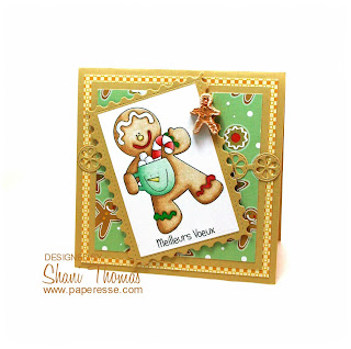 Gingerbread man Christmas card with digital stamp, by Paperesse.