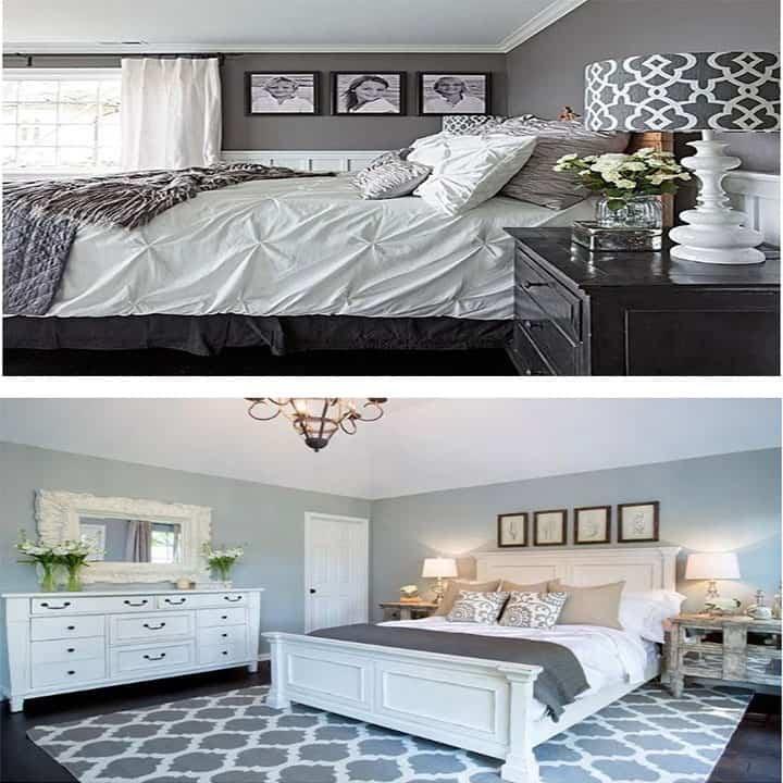 غرفة نوم باللون رمادي مع ابيض