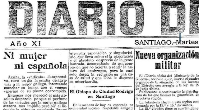 Fragmento de la portada del Diario de Galicia, de 20-8-1918