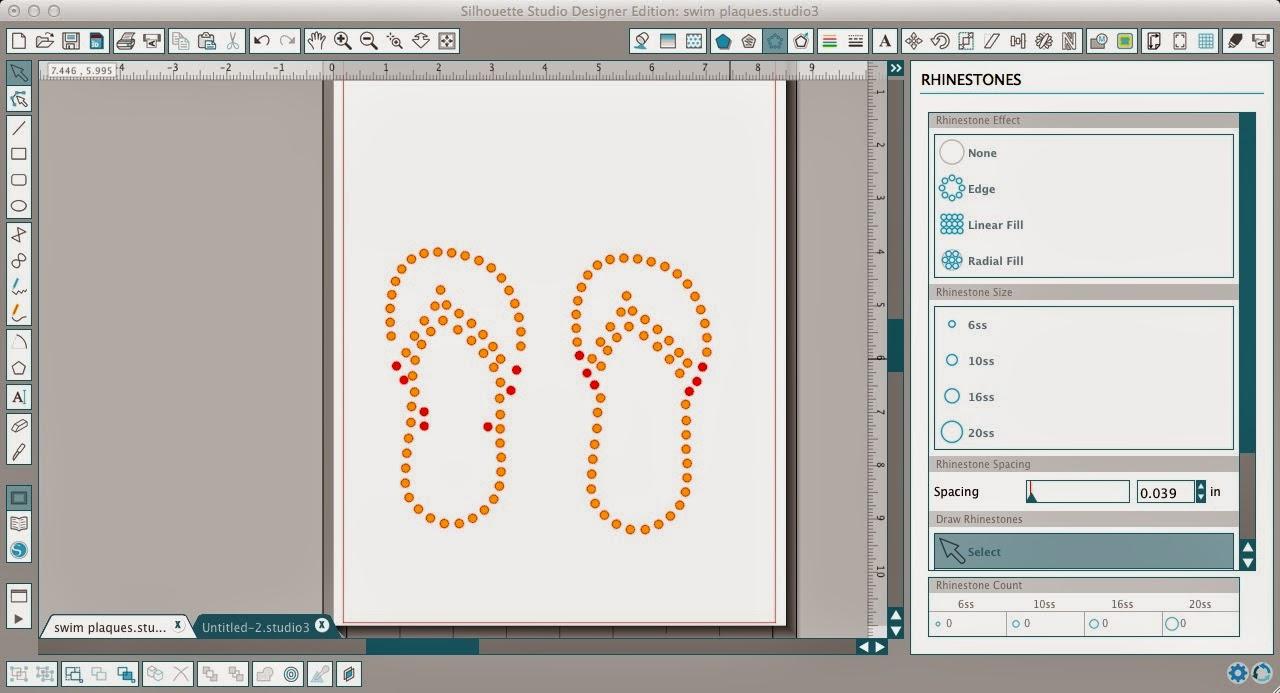 Silhouette Studio, custom, rhinestone designs, Silhouette tutorial, rhinestone, flip flops