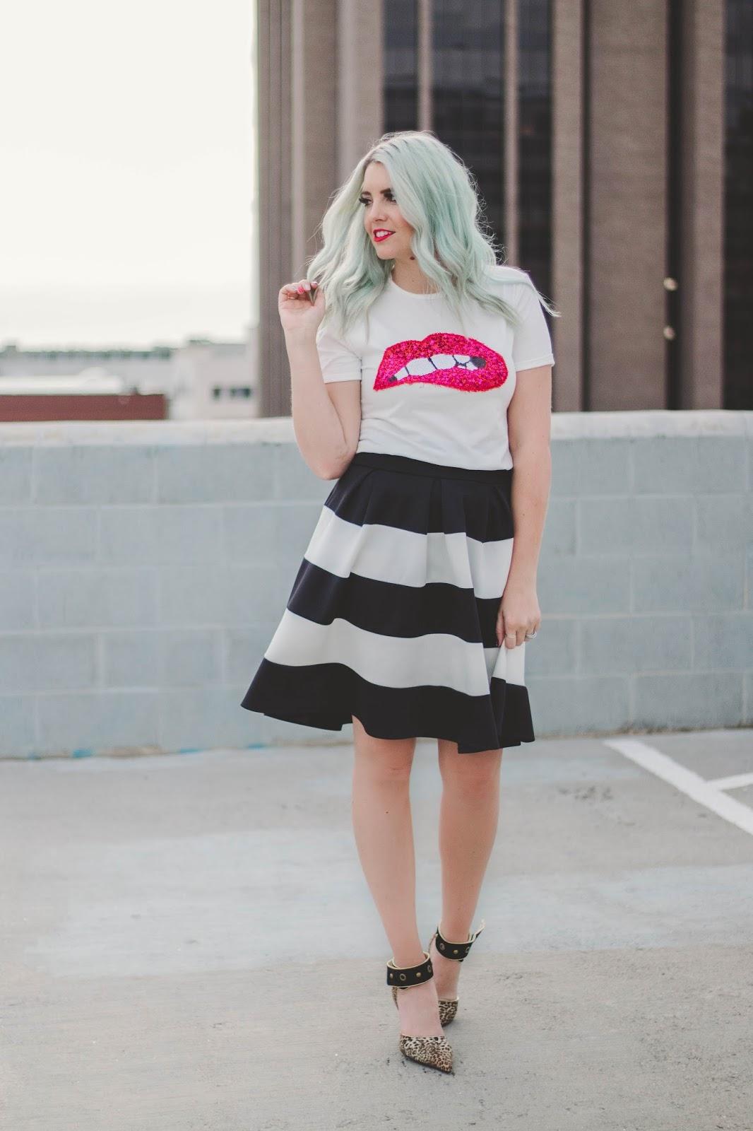 Lips Shirt, Striped Skirt, Leopard Heels