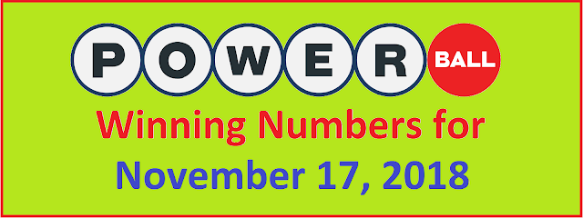 PowerBall Winning Numbers for Saturday, 17 November 2018