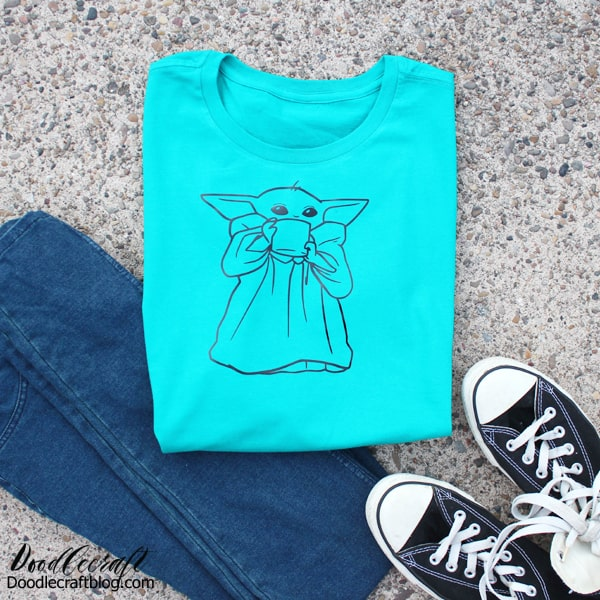 "Make a cute Mandalorian inspired, ""The Child,"" Baby Yoda shirt with the Cricut cutting machine, EasyPress 2 and some Iron on vinyl. Perfect for a Star Wars fan!"
