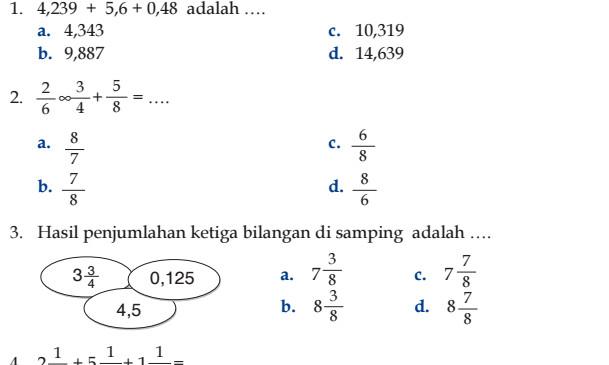Download Soal UTS Matematika Kelas 6 SD Semester 2 Kurikulum KTSP