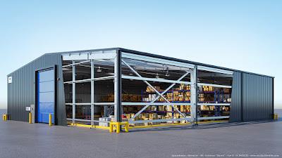 perspective 3d éclatée hangar industriel