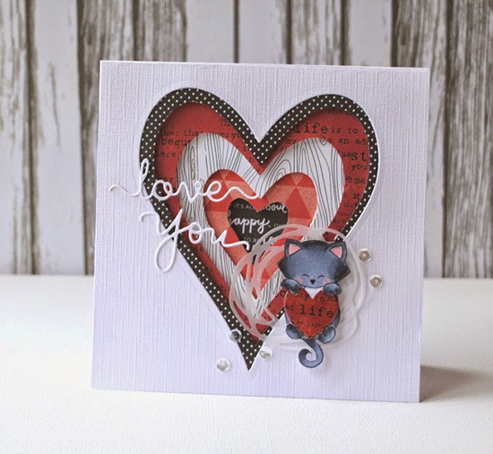 Love you Kitty card with Hearts | Card by Anja | Stamps by Newton's Nook Designs
