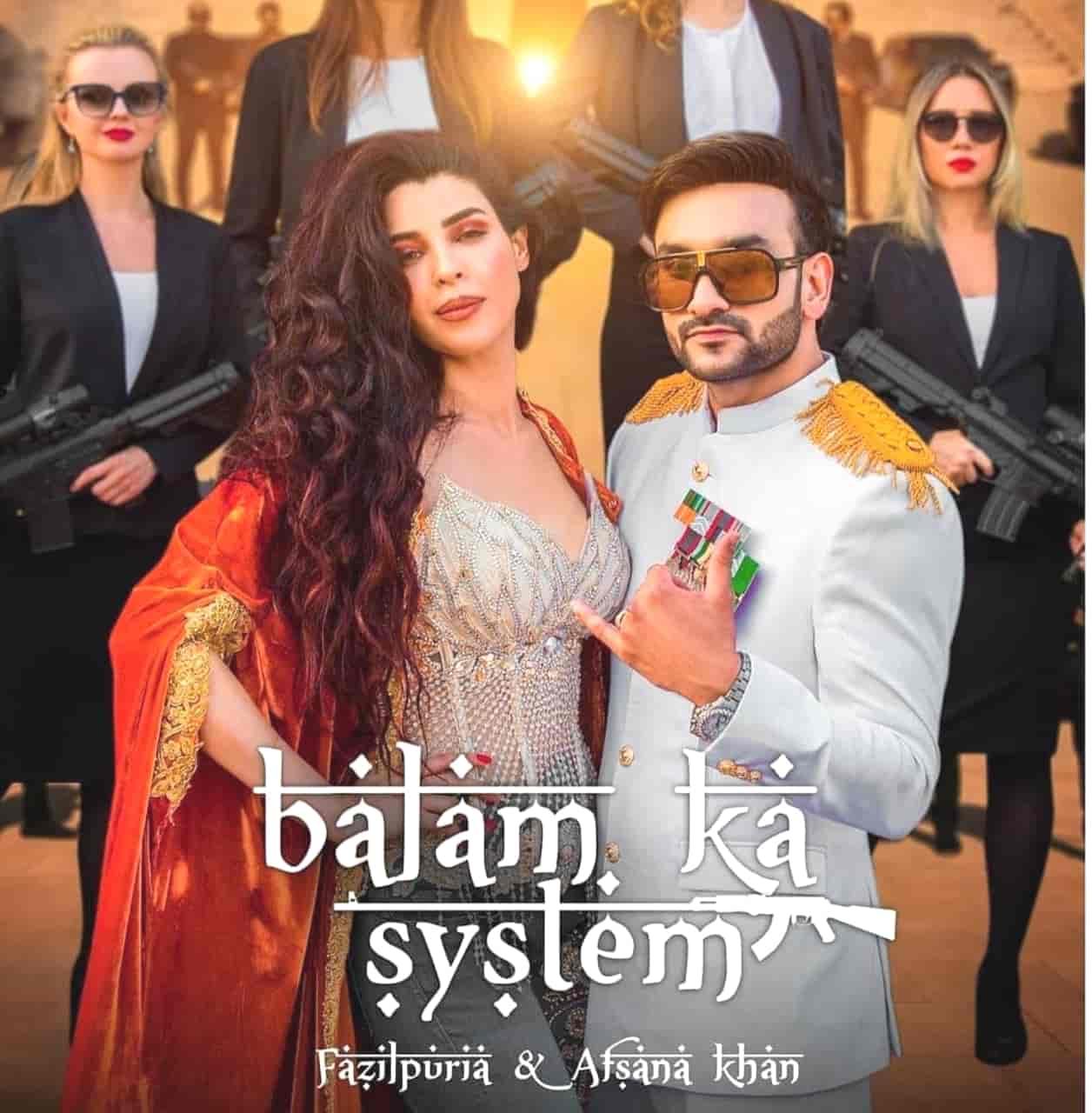 Balam Ka System Haryanvi Rap Song Image Features Fazilpuria and Afsana Khan