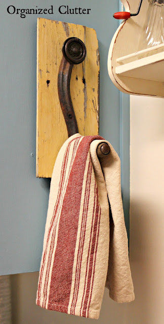 Photo of a crank handle towel holder.