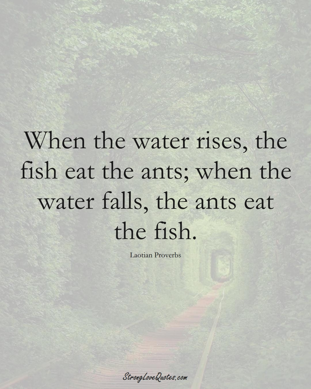When the water rises, the fish eat the ants; when the water falls, the ants eat the fish. (Laotian Sayings);  #aVarietyofCulturesSayings