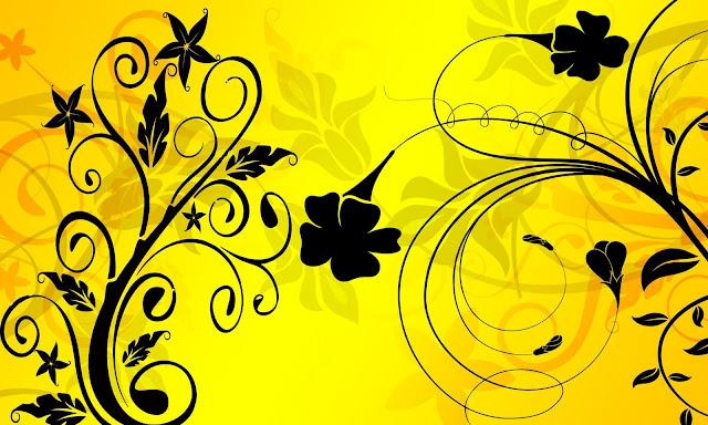 texture gialla con fiori stilizzati