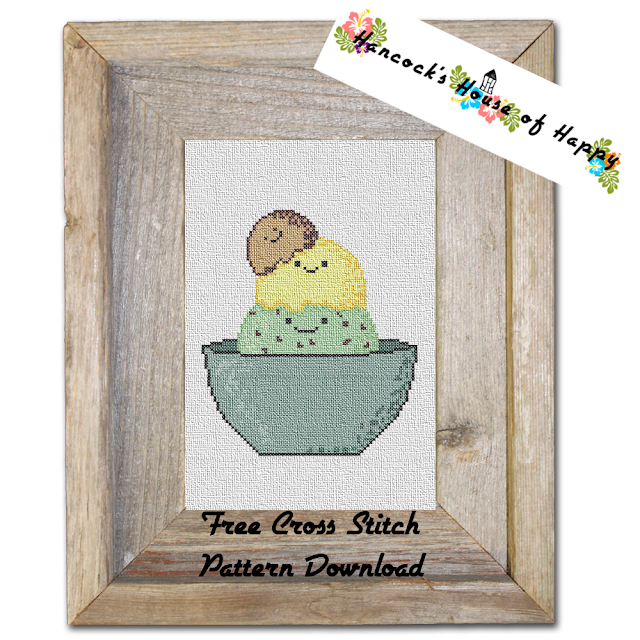 A Free Cute Kawaii Ice Cream Cross Stitch Pattern to Download