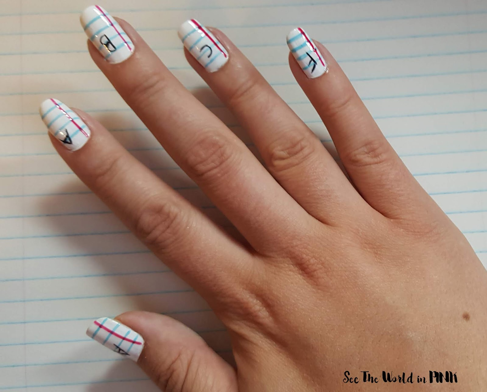 "Manicure Monday - Back To School ""Graded Paper"" Nail Art"