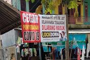 warga tegaracak Rt 18 pasang sepanduk lockdown antisipasi penyebaran covid-19