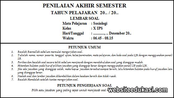 Soal Pas Sosiologi Kelas 10 Kurikulum 2013 Tahun 2020 2021 Websiteedukasi Com
