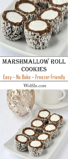 Marshmallow Roll Cookies - Easy, No-Bake & Freezer Friendly! #Cookies #Cake #Marshmallow #Christmast