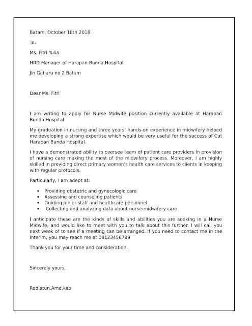 Contoh Surat Lamaran Kerja Bidan Paling Lengkap dengan file word