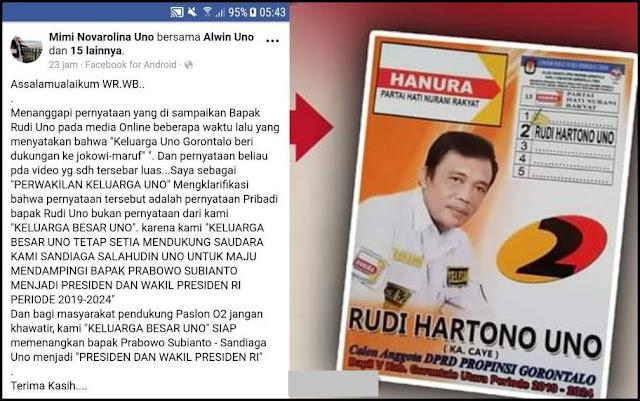 Bantah Dukung Jokowi, Perwakilan Keluarga Besar Uno Tegaskan Siap Menangkan Prabowo-Sandi