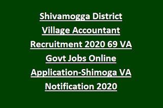 Shivamogga District Village Accountant Recruitment 2020 69 VA Govt Jobs Online Application-Shimoga VA Notification 2020