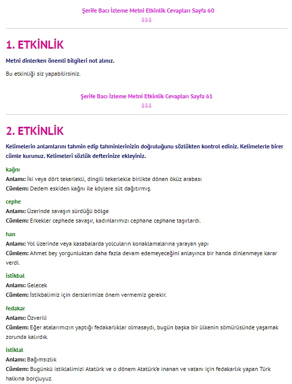 Şerife Bacı Belgeseli Dinleme İzleme Metni Cevapları 4. Sınıf Türkçe Sayfa 60-61