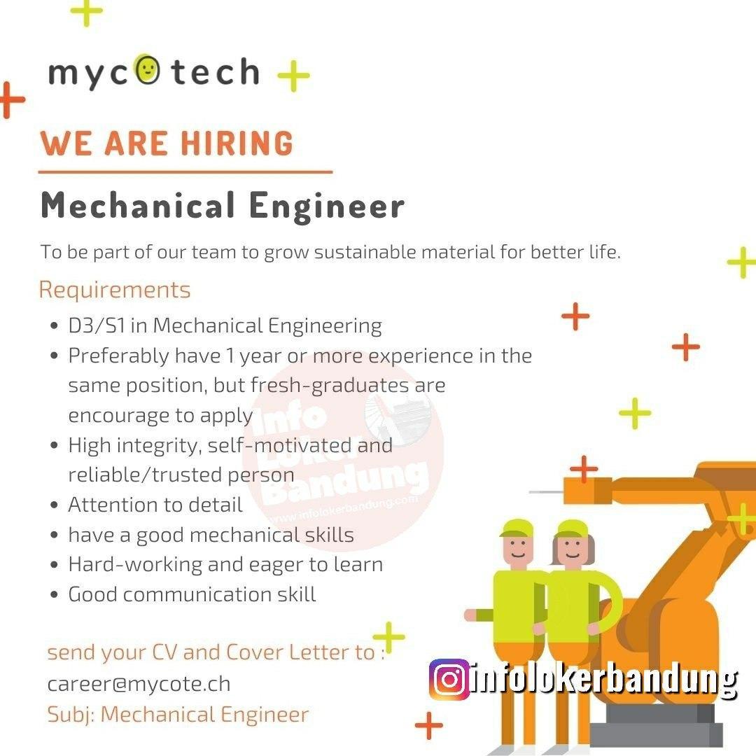 Lowongan Kerja Mechanical Engineer & Scale Up Manager Mycotech Bandung Januari 2020