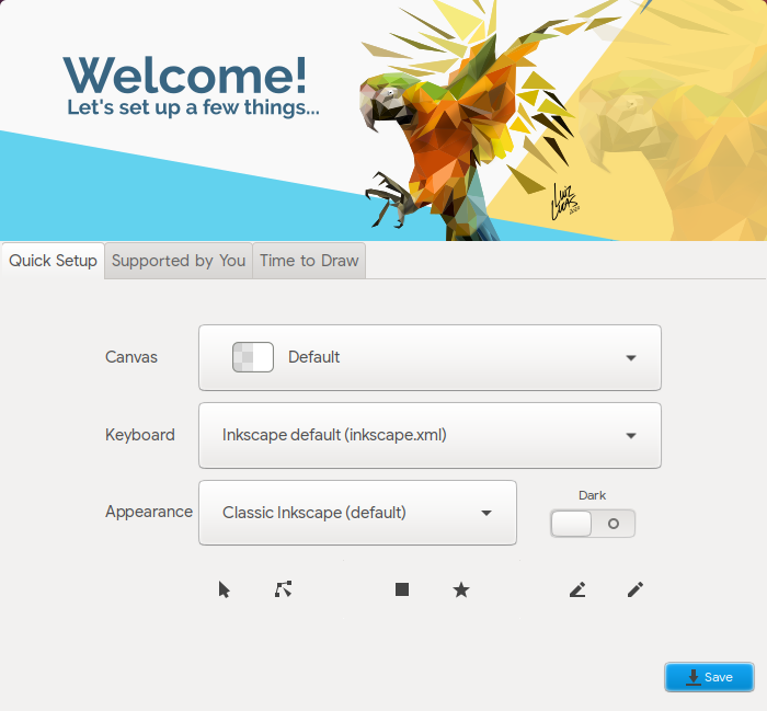 Tampilan dialog 'Selamat Datang' Inkscape 1.1