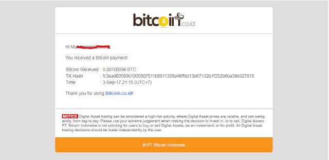 Bukti Pembayaran Bitcoin dari Situs A-Ads.com Melalui VIP Bitcoin.co.id