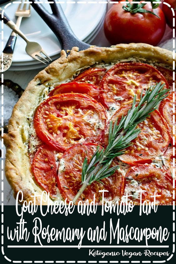 SAVE FOR LATER! This Goat Cheese and Tomato Tart with Rosemary and Mascarpone is an easy to make recipe that should be on everyone's summer menu. #theendlessmeal #tomatoes #tart #tomatotart #goatcheese #goatcheesetart #goatscheese #vegetarian #summer #summerrecipe #tomatopie