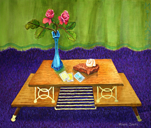 Renter's Roses by Minaz Jantz (watercolor, pastel, gold, stitching)