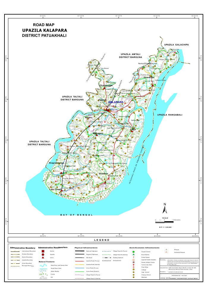 Kalapara Upazila Road Map Patuakhali District Bangladesh