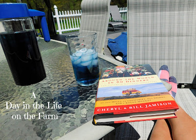 Book and Blue tea on deck