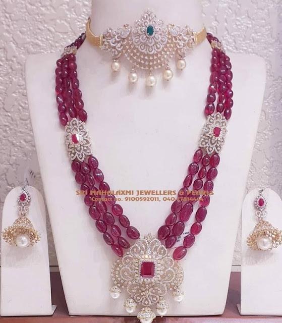 Ruby Beads Set with Diamond Choker