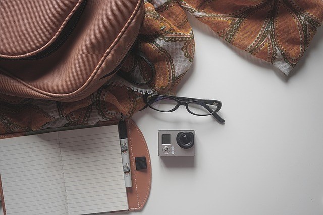 Bag,neck-scarf,reading glasses and mini-camera