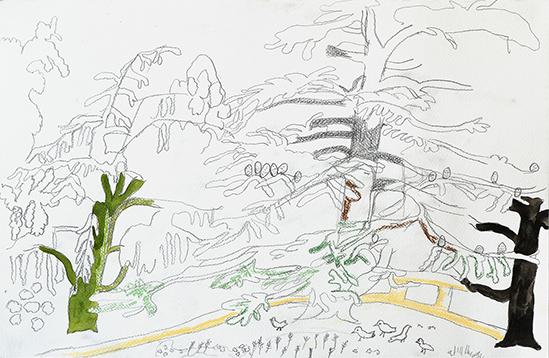 Charlotte Schleiffert  no title (P29), 2019 pencil watercolour, pastel on paper 32,5 x 50 cm