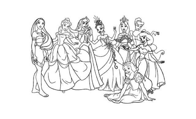 dibujos faciles de todas las princesas de disney para colorear o imprimir
