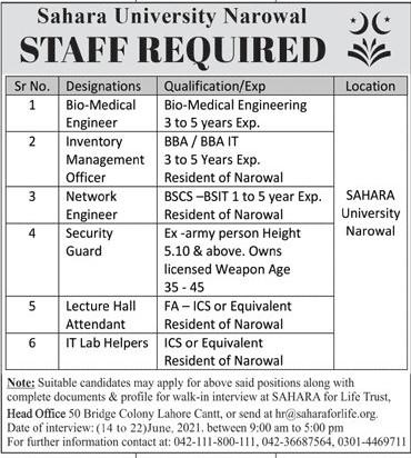 hr@dsaharaforlife.org - Sahara University Narowal Jobs 2021 in Pakistan