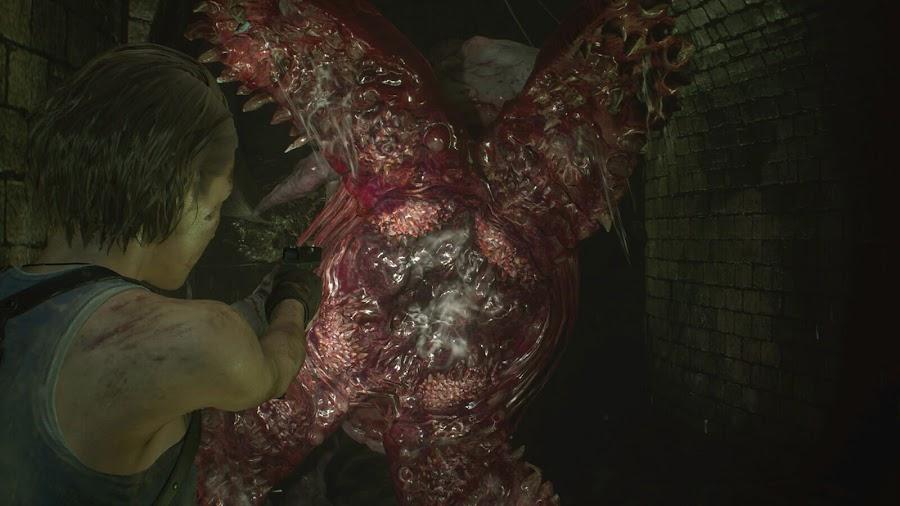 resident evil 3 remake screenshot image jill valentine hunter gamma grave digger mandibles