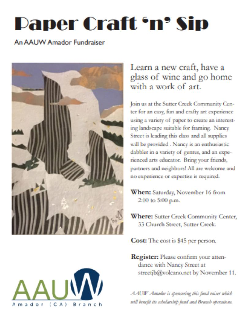 AAUW: Paper Craft 'n' Sip Fundraiser - Sat Nov 16