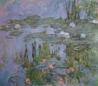 image of Monet water lilies painting with pink and blue flowers