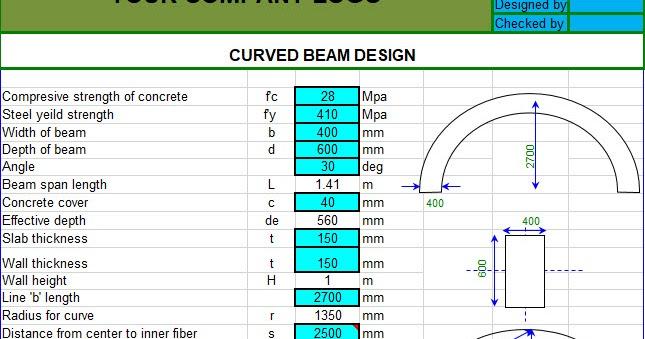 Curved Beam Design Spreadsheet
