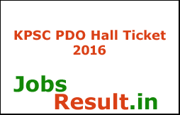 KPSC PDO Hall Ticket 2016