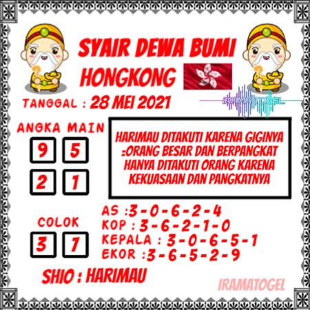 Syair Dewa Bumi HK Jumat 28-Mei-2021