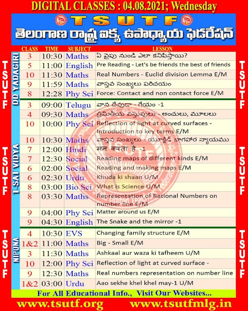 04-08-2021 DD Yadagiri T-SAT Online  Classes Schedule and Worksheets Download