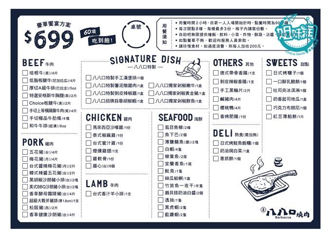 八八口頂級燒肉餐廳Barbacoa-吃到飽菜單