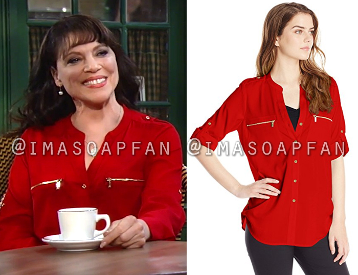Liesl Obrecht, Kathleen Gati, Red Utility Shirt with Zip Pockets, General Hospital, GH
