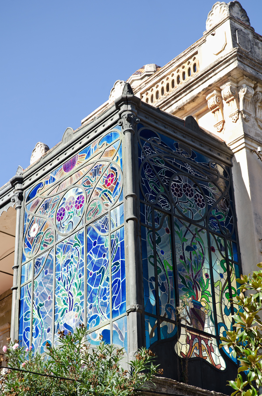 Stained Glass balcony at Cal Calixtus house, Sant Sadurni D'Anoia