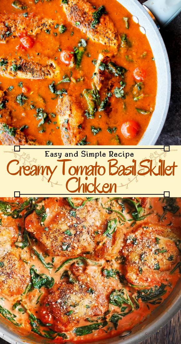 Creamy Tomato Basil Skillet Chicken #healthyfood #dietketo #breakfast #food