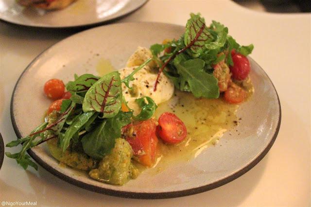 Heirloom Tomato Salad with Burrata, Pistachio Pesto, Arugula at Sportello in Boston