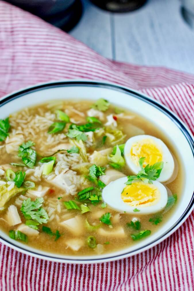 Asian-Style Chicken and Rice Soup with Cabbage and