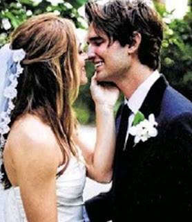 Blake Anderson Hanley in a wedding dress with his former wife Emily Wickersham