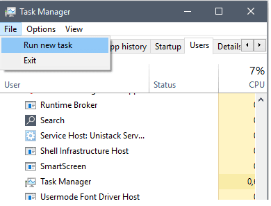 New task pada task manager
